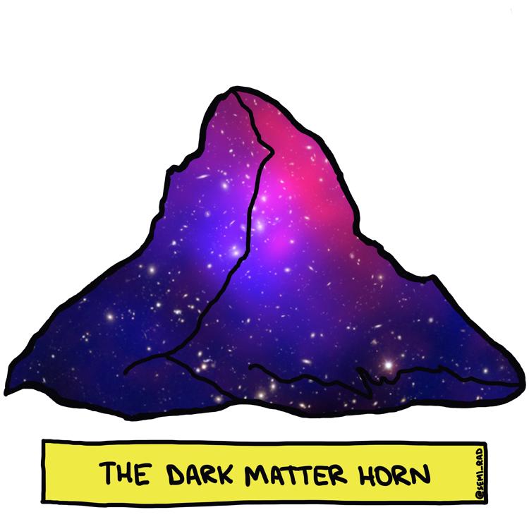 drawing of the matterhorn composed of dark matter