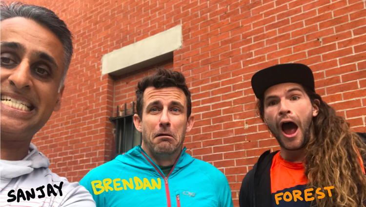 sanjay brendan and forest at the start of the New York Pizza marathon