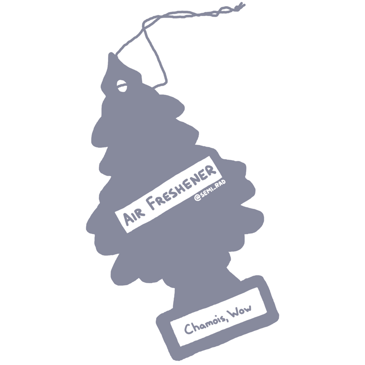 "drawing of a pine tree shaped air freshener reading ""chamois, wow"""