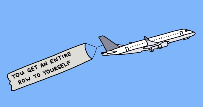 "drawing of a plane towing a banner that says ""you get an entire row to yourself"""