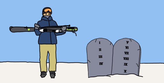 drawing of a skier next to 10 Commandments tablets