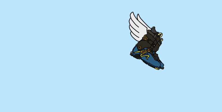 drawing of ski boots with wings