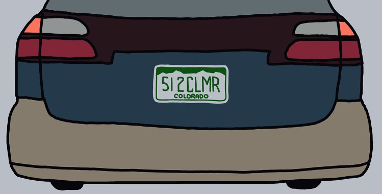 """drawing of a car with a license plate reading """"512CLMR"""""""