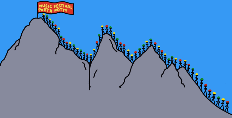drawing of mountain climbers in line for a music festival porta potty