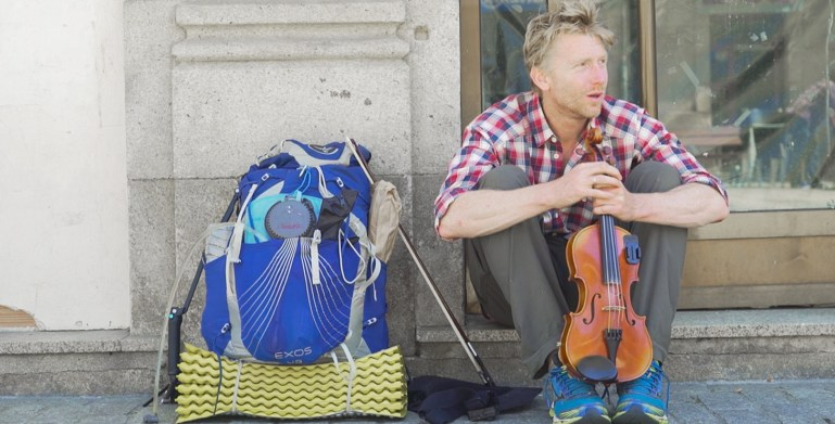 alastair humphreys traveling with his violin from My Midsummer Morning
