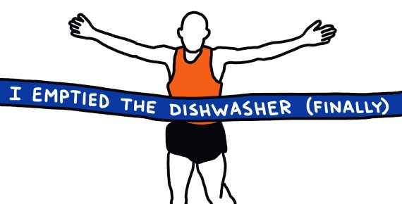 "drawing of marathon runner going through finish line tape reading ""I emptied the dishwasher (finally)"""