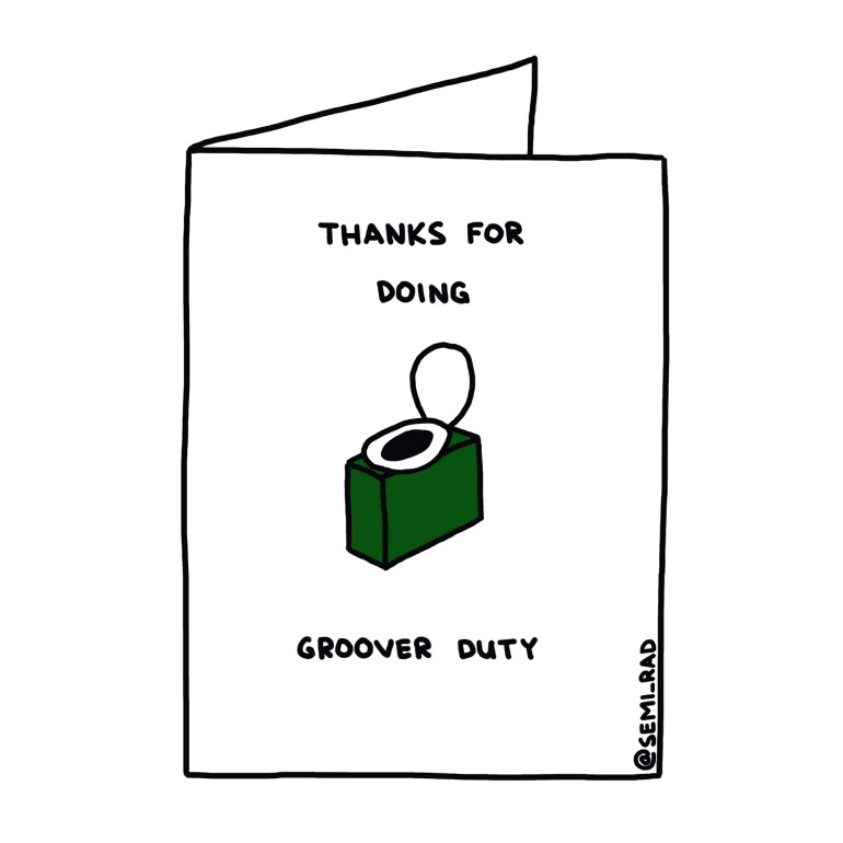"""""""Thanks for Doing Groover Duty"""" Thank You Card Semi-Rad"""