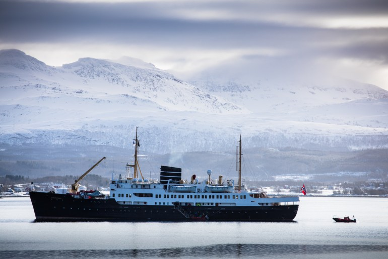 Tommy Penick photo of the MS Nordenstjernen ship used on the Arctic Haute Route in Norway