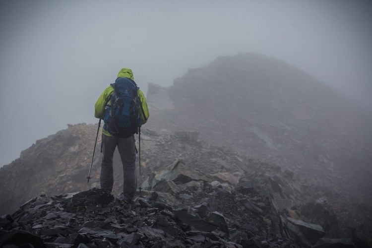 [Jim Harris photo] brendan leonard near the summit of California Peak, sangre de cristo range