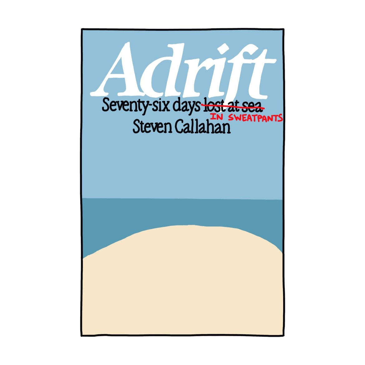 hand-drawn edited cover of Adrift by Steven Callahan