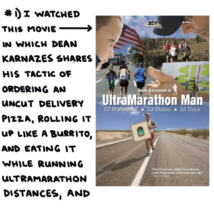 DVD cover of 'Ultramarathon Man' with a hand-drawn pizza box photoshopped into Dean Karnazes's hands