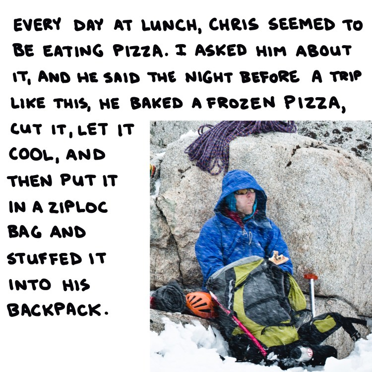 zoomed-in photo of guide Chris Werner eating lunch on a Mt. Whitney climb