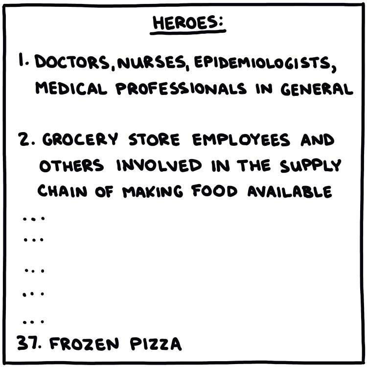handwritten list of actual heroes: doctors, nurses, grocery store employees, etc