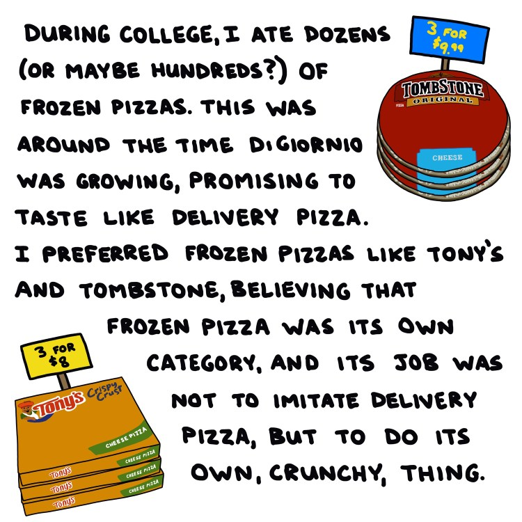 illustration of frozen pizzas with handwritten text about my history of eating them