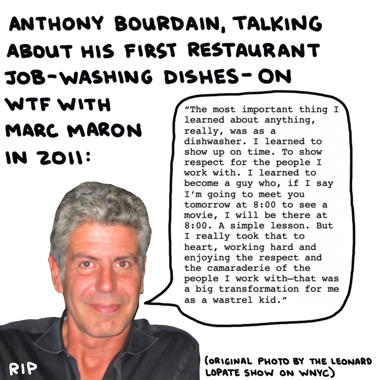 photo of anthony bourdain with quote