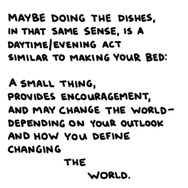 handwritten text about changing the world
