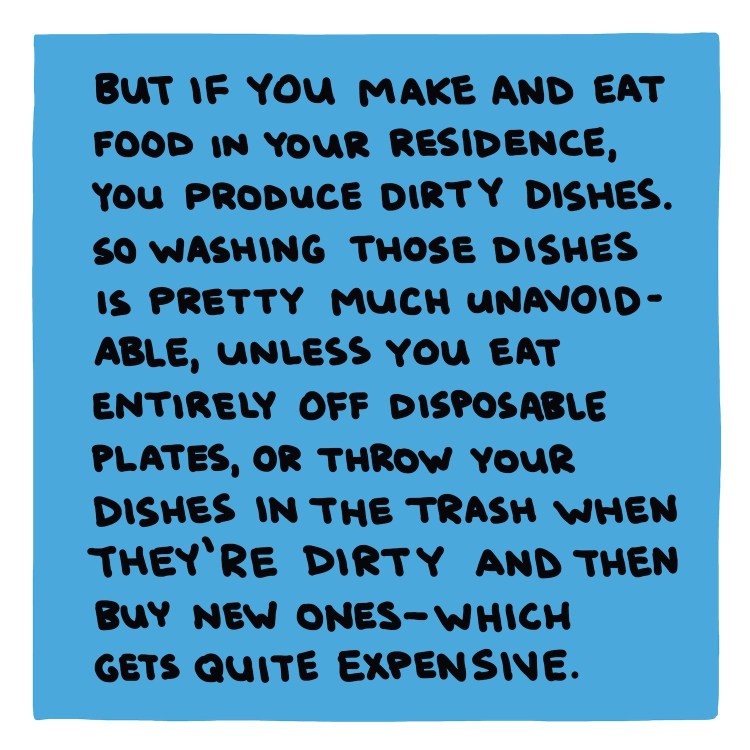 handwritten text box about producing dirty dishes