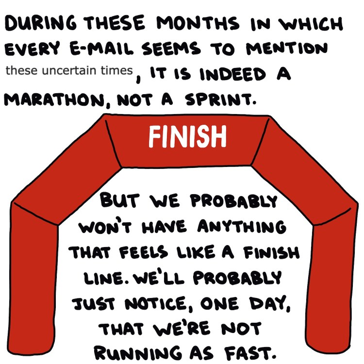 handwritten text, excerpt from email, and drawing of marathon finish line arch