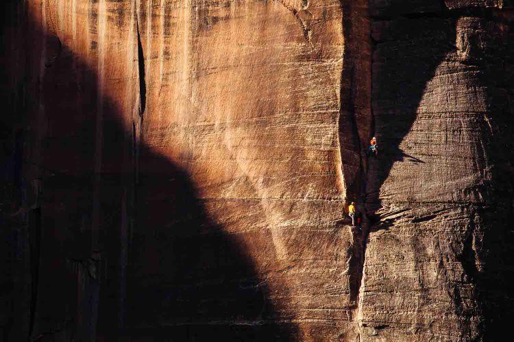 Ethan Newman and Brendan Leonard climb Prodigal Sun in Zion National Park [photo by Matty Van Biene]