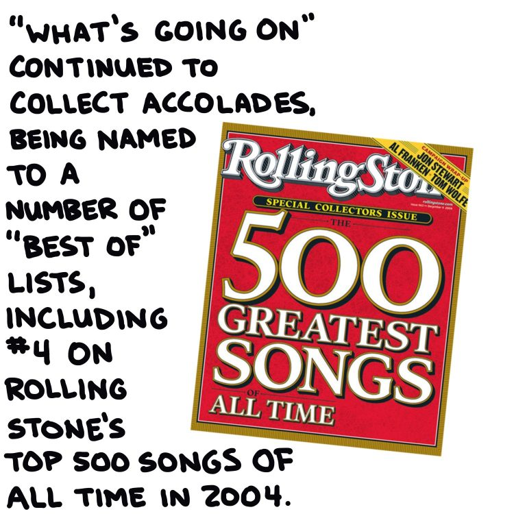 handwritten text and magazine cover showing Rolling Stone's 500 Greatest Songs of All Time