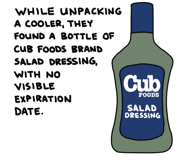 handwritten text and drawing of cub foods brand salad dressing