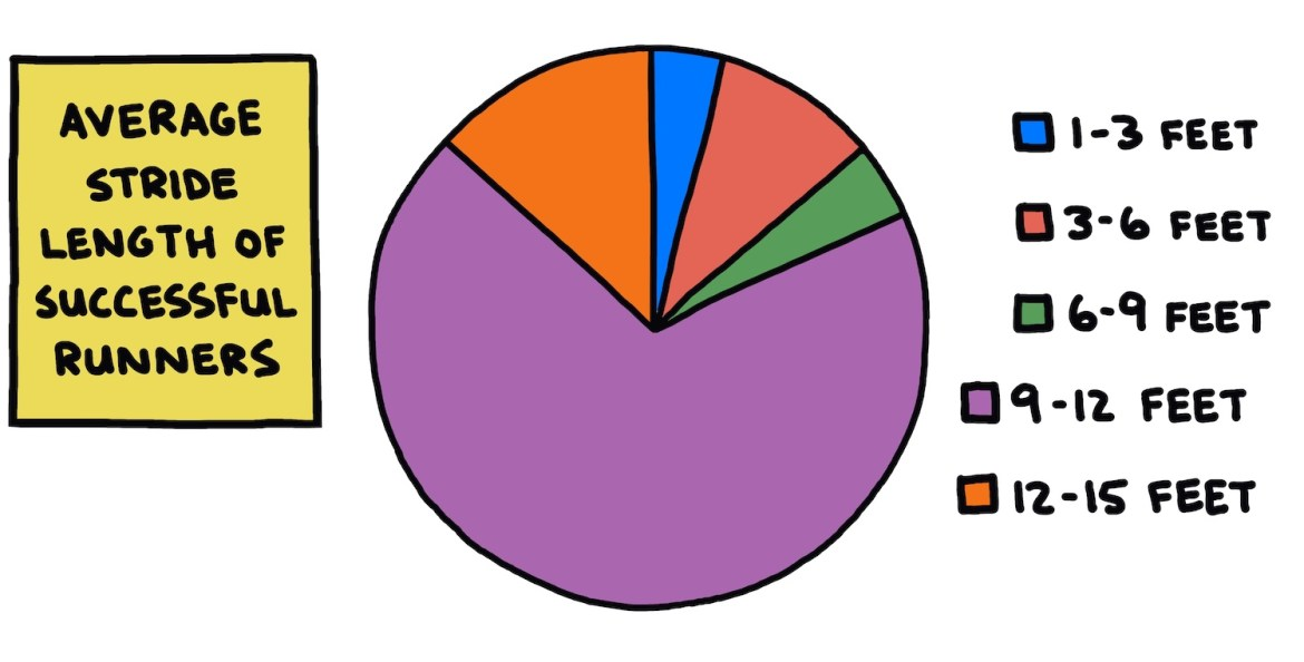 "hand-drawn pie chart titled ""Average Stride Length Of Successful Runners"""