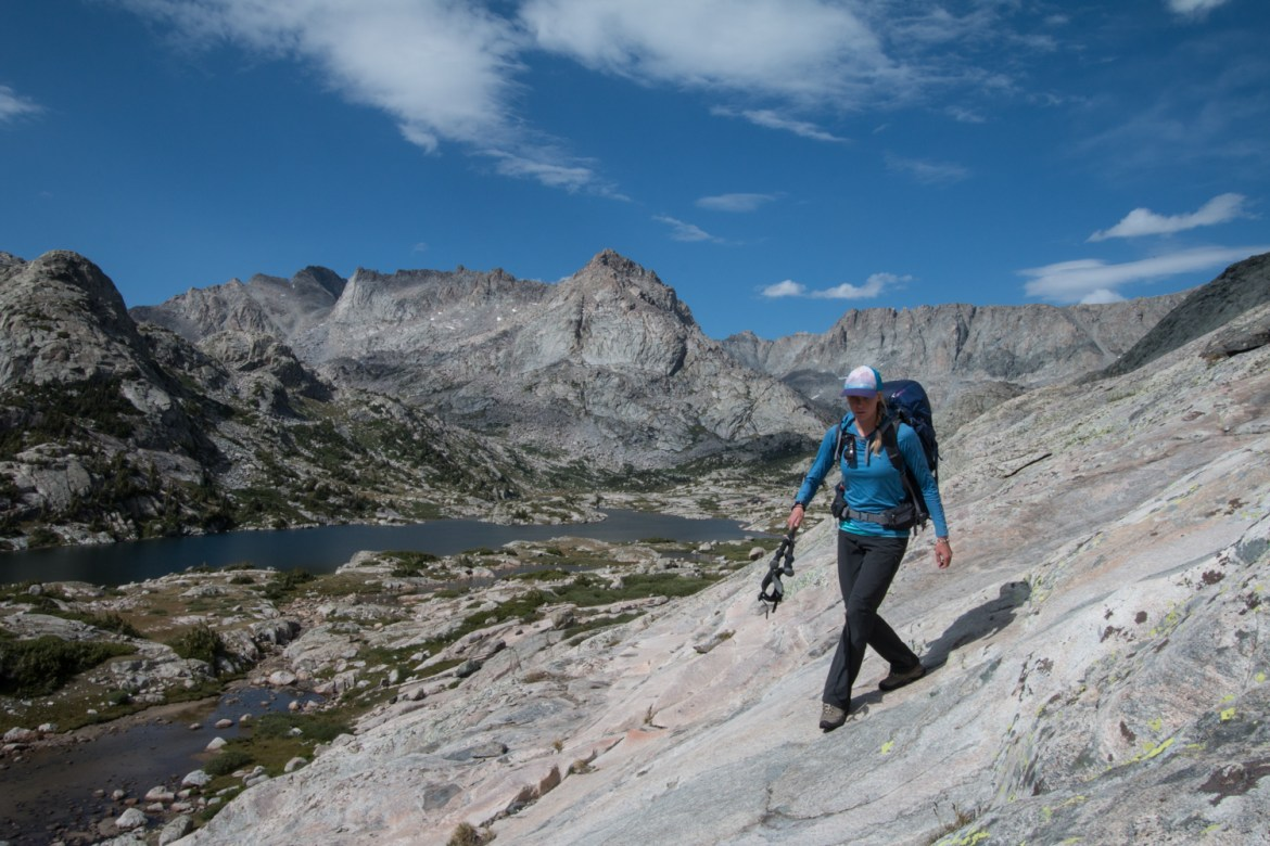 Hilary Oliver hikes the slabs along Wall Lake in Wyoming's Wind River Range