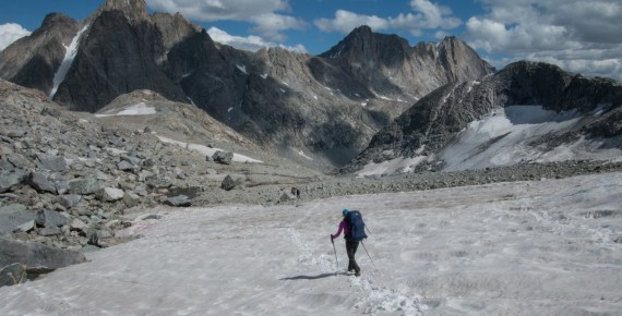 hilary oliver descends Knapsack Col in Wyoming's Wind River Range