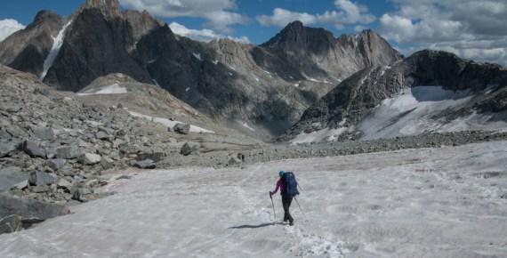 hilary oliver descends Knapsack Col in Wyoming's Wind River Range