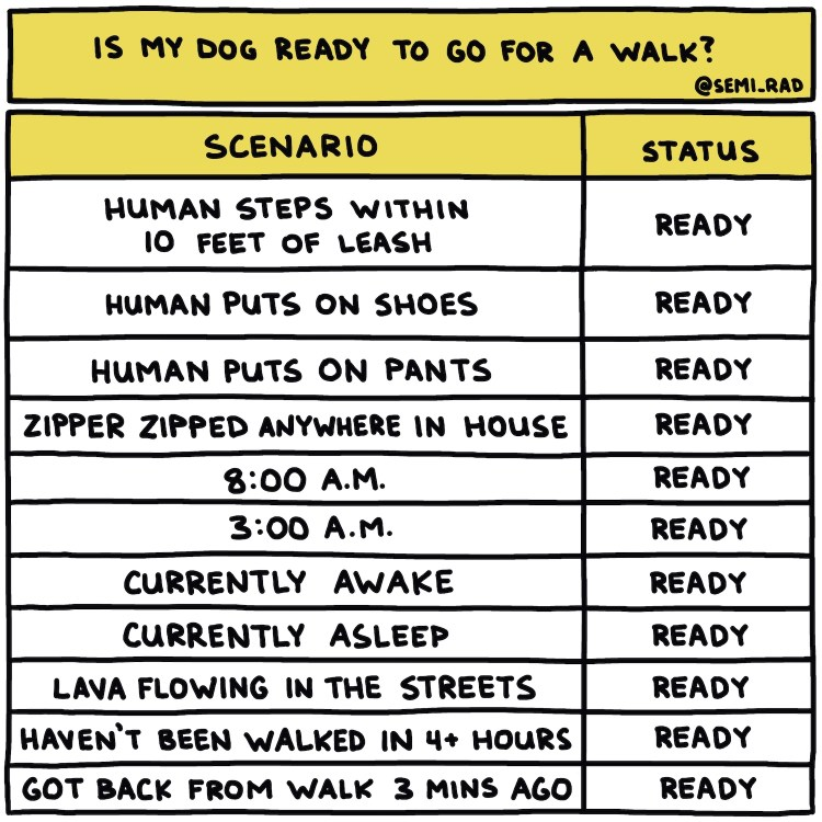 """hand-drawn chart titled """"Is My Dog Ready To Go For A Walk?"""""""