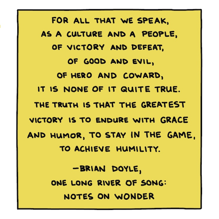 """handwritten quote from Brian Doyle's """"One Long River of Song"""""""