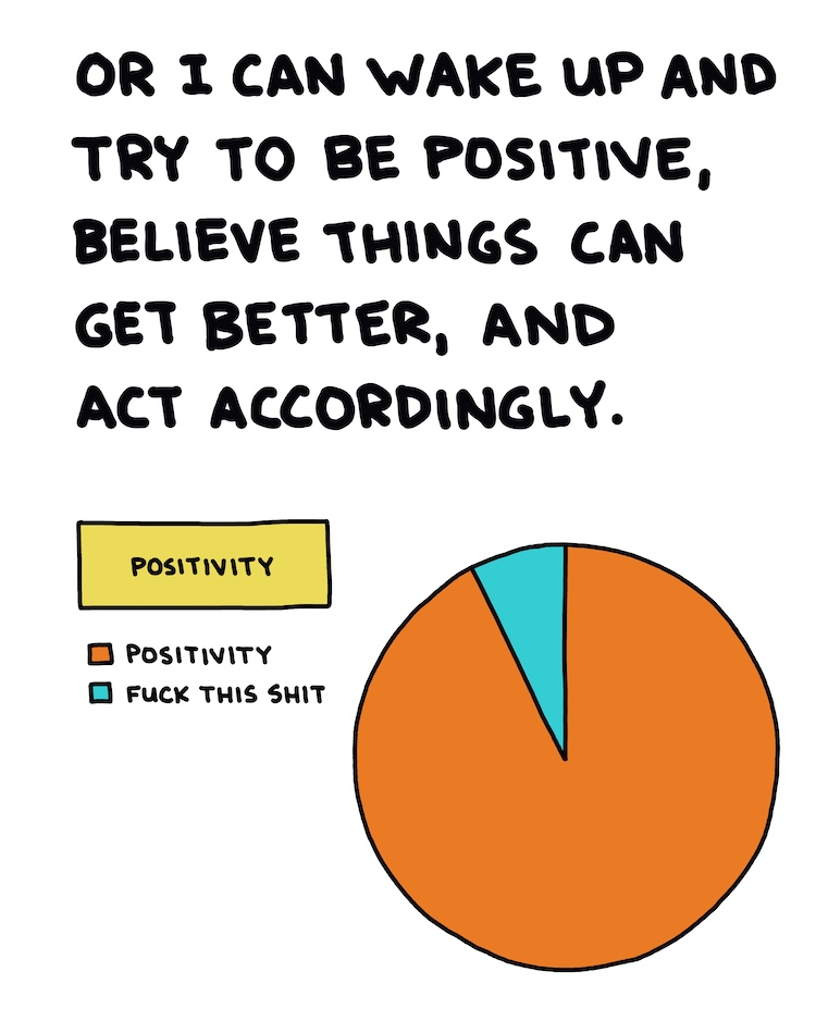 handwritten text and pie chart showing positivity