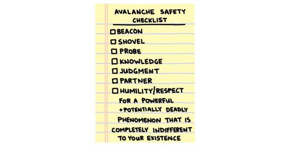 hand-drawn avalanche safety checklist