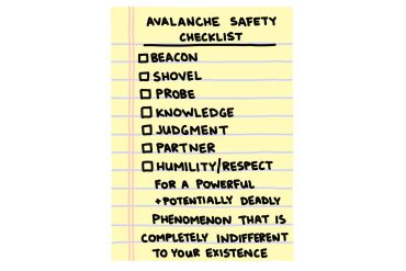 hand-drawn avalanche safety checklist