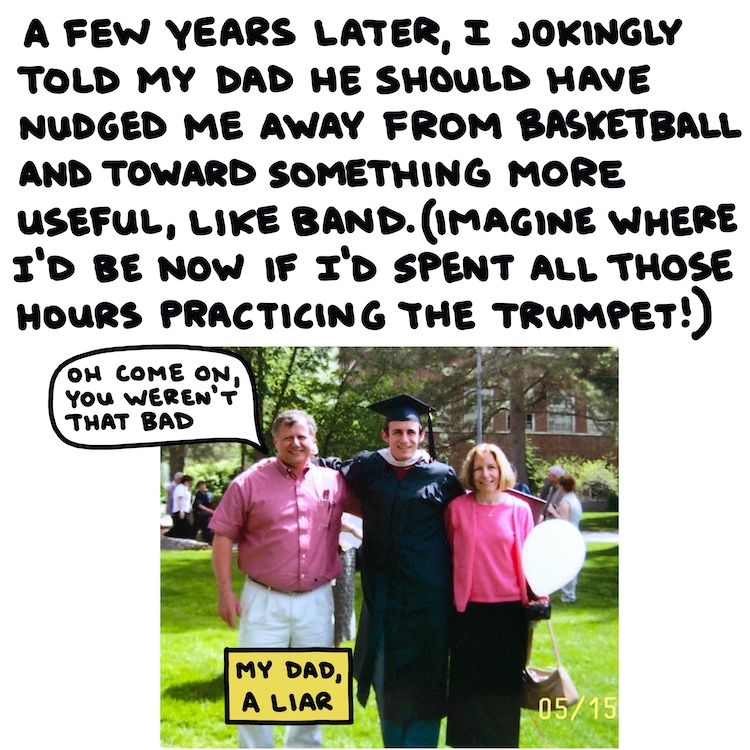 handwritten text and photo of graduate with parents