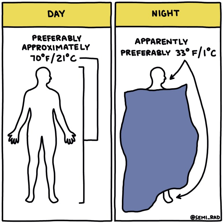 Semi-Rad Chart - Preferable Temperatures For Humans, Day Vs. Night