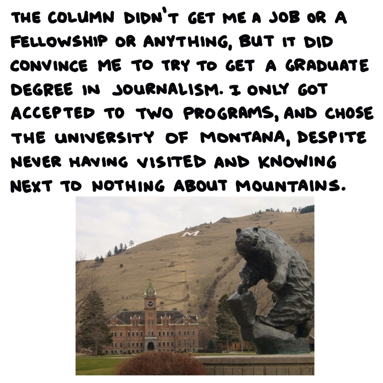 handwritten text and photo of the University of Montana