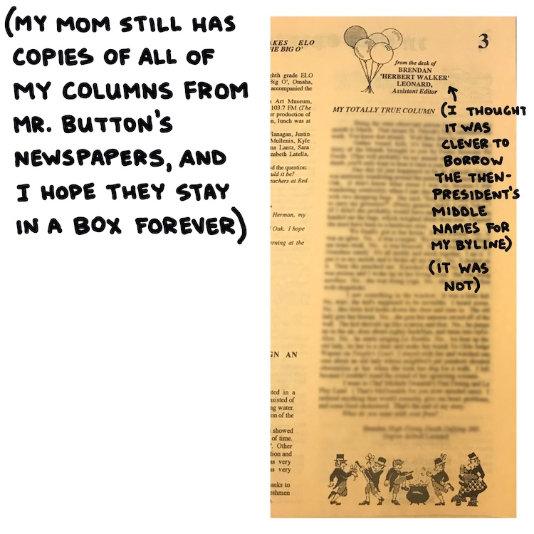handwritten text and photo of school newspaper
