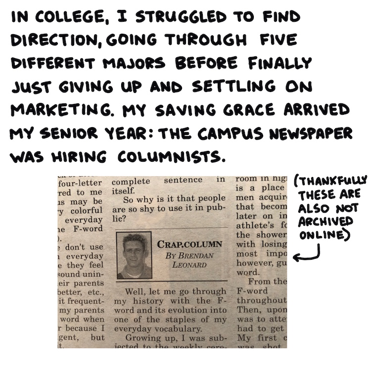 handwritten text and photo of campus newspaper