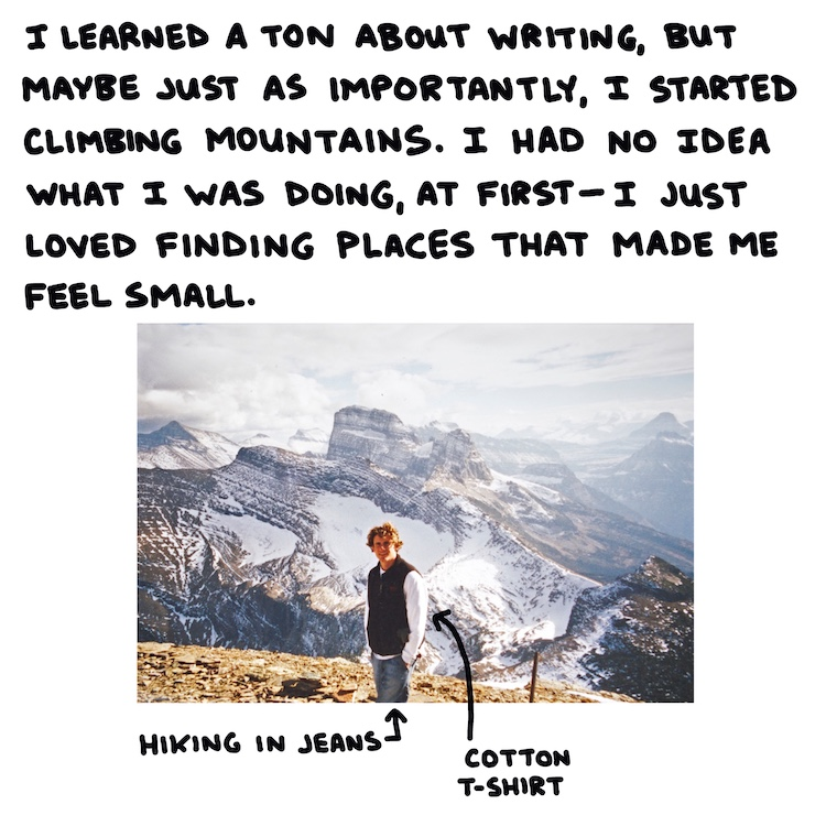 handwritten text and photo of hiker