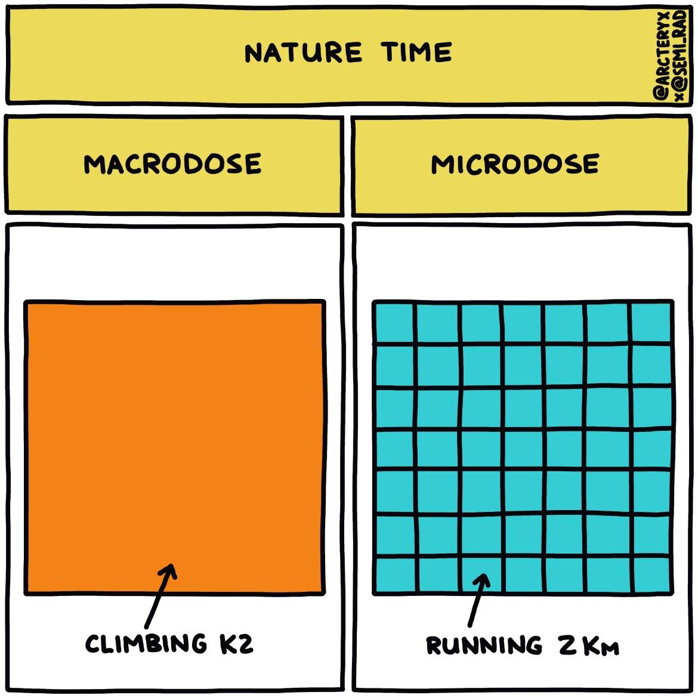 semi-rad chart: nature macrodose vs microdose K2 vs running 2 KM
