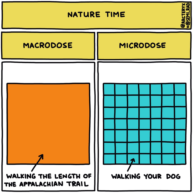 semi-rad chart: nature macrodose vs microdose walking