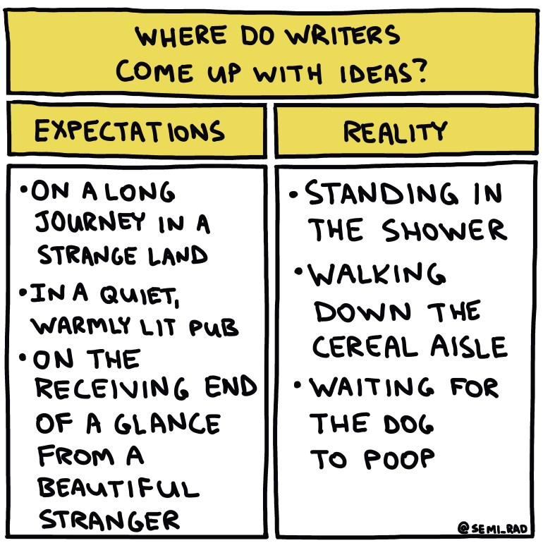 semi-rad chart: Where Do Writers Come Up With Ideas?