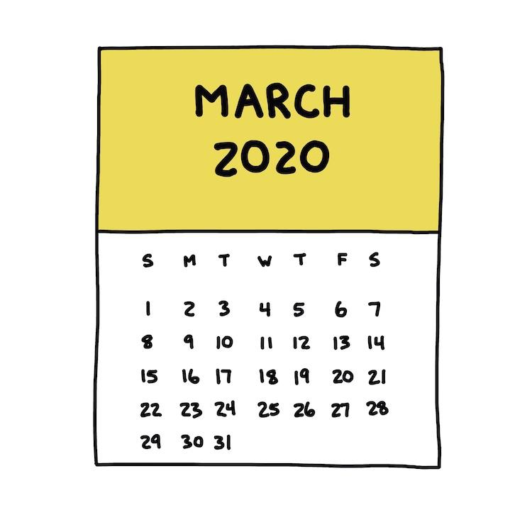 hand-drawn march 2020 calendar