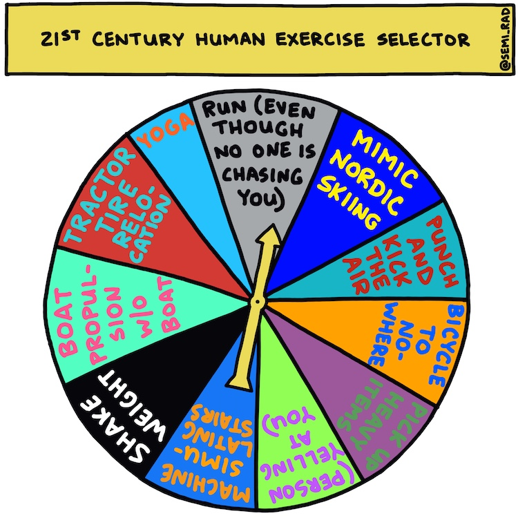 semi-rad illustration: 21st century human exercise selector