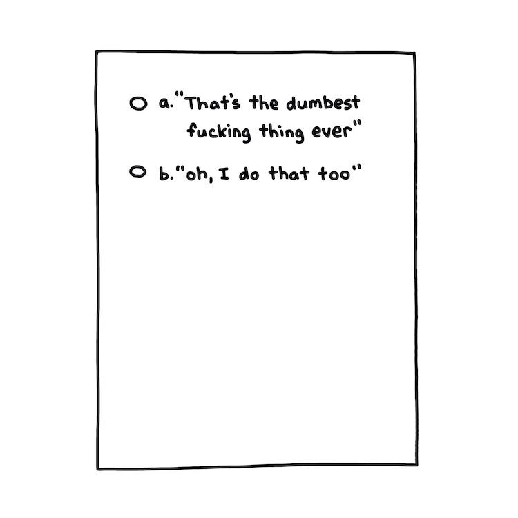 hand-drawn multiple choice test