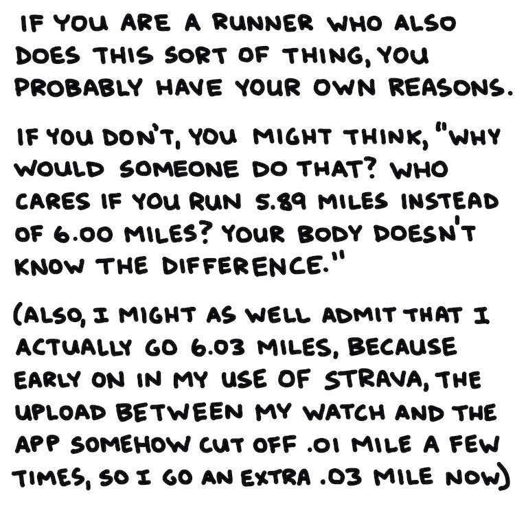 """handwritten text: If you are a runner who practices this sort of behavior, you have your reasons. If you don't, you might think, """"Why would someone do that? Who cares if you run 5.89 miles instead of 6.00 miles? Your body doesn't know the difference."""" (also, I might as well admit that I actually go 6.03 miles, because early on in my use of Strava, the upload between my watch and the app somehow cut off .01 mile a few times, so I go an extra .03 mile now)"""