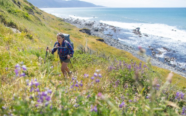 forest woodward photo of backpacker walking on coastal trail