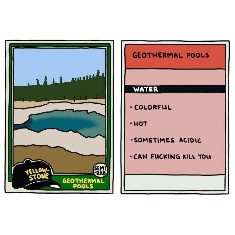 hand-drawn yellowstone trading card: geothermal pools