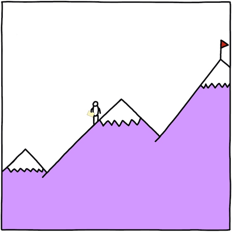 drawing of climber on mountain holding sheet of notebook paper